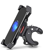 FYLINA Anti-Shake Handyhalterung Fahrrad Stärken Motorrad Handy-360° Drehbare Halter Verstellbarer Smartphone Halter - Universelle Radsport Verhütung Wiege Klammer 3,5-6,5 Zoll Smartphone