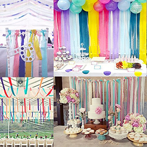KeNeer 8 Rolls Party Streamers Multi Color Decorations Crepe Paper For Birthday Wedding Concert And Various Festivals