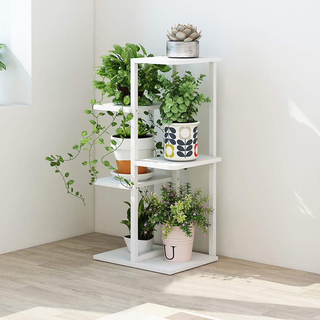 JHFUH Modern Home Flower Rack, 5-Grid Plant Stand Rack Shelf Flower Pots Holder Display Rack Utility Shelf Rack Furniture, for Bathroom, Living Room, Kitchen, 42×20×80cm (White) by JHFUH_Table