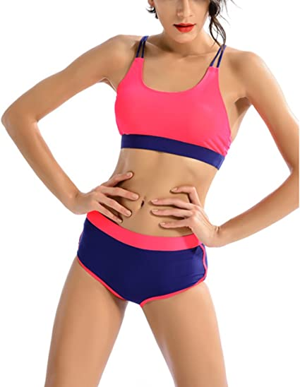 SYROKAN Womens Bikini Two Pieces Swimsuits Sports Bra Top Racerback