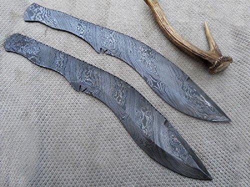 Pair of Custom Handmade Damascus Steel Kukri Blank Blade
