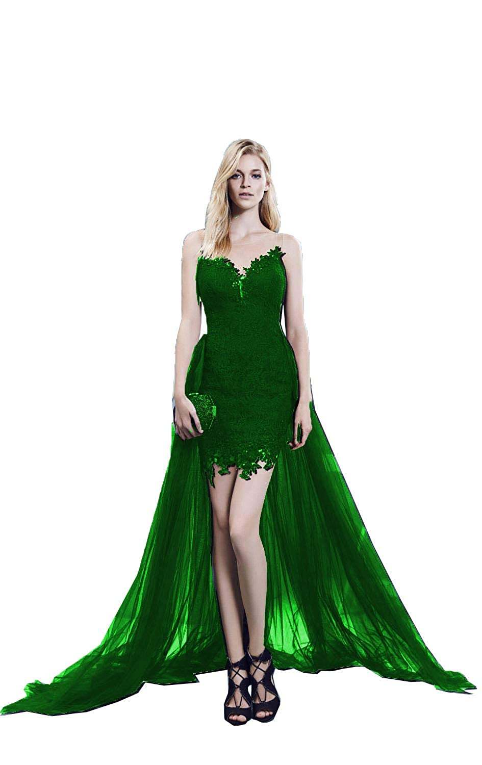 Dark Green MariRobe Women's lace Applique Prom Dress with Detachable Train 2019 Sexy Cocktail Gowns Illusion Backlesss Evening Dress