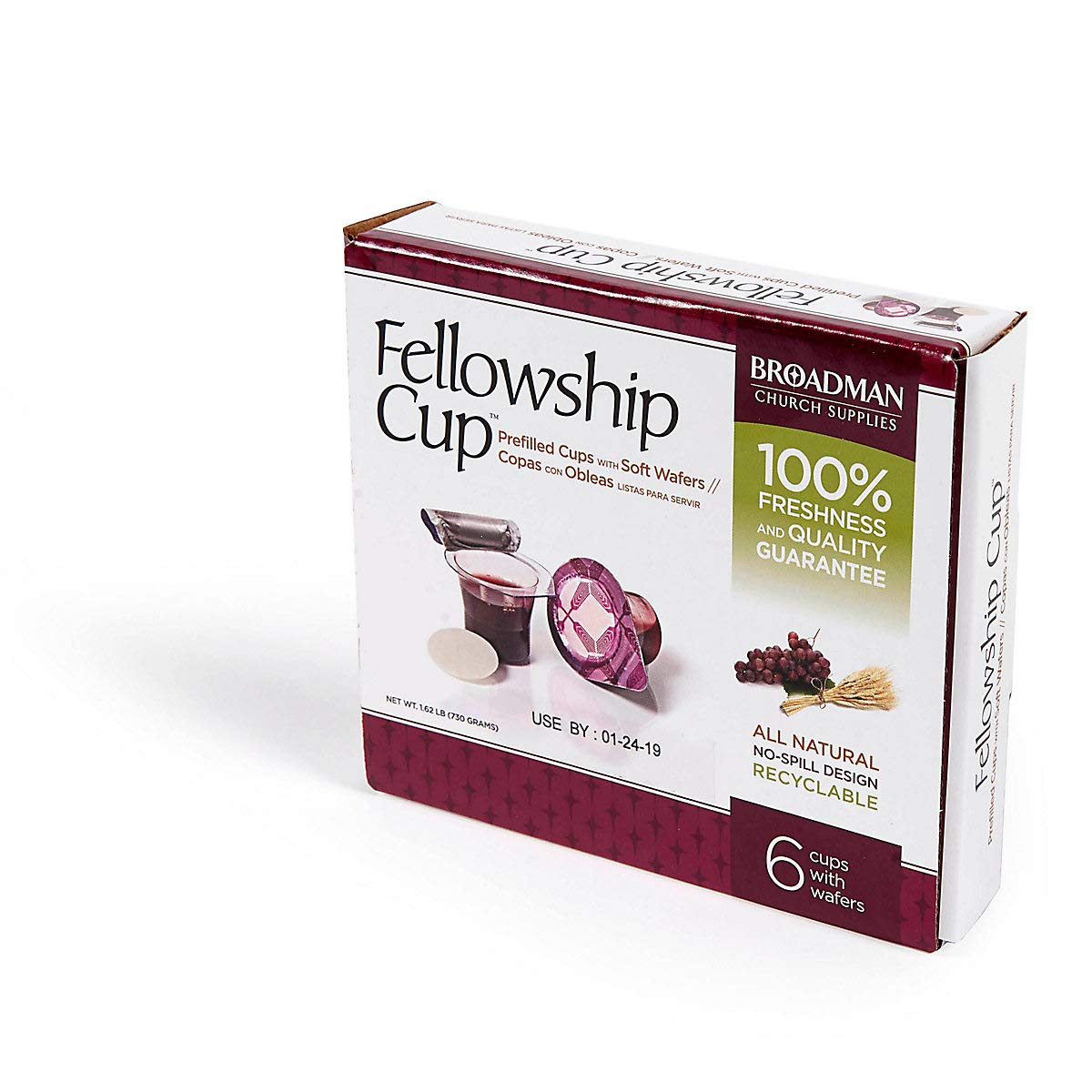 Broadman Church Supplies Pre-filled Communion Fellowship Cup, Juice and Wafer Set, 6 Count