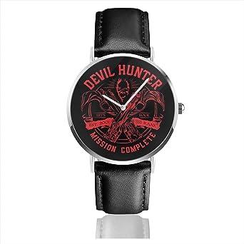 Unisex Business Casual Devil Huntre Ebony and Ivory Dmc Relojes Reloj de Cuero de Cuarzo