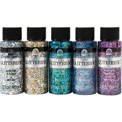 (FolkArt PROMOFAGL01 Glitterific Glam Basics Paint, 2 oz, Glam Colors,pack of 5)