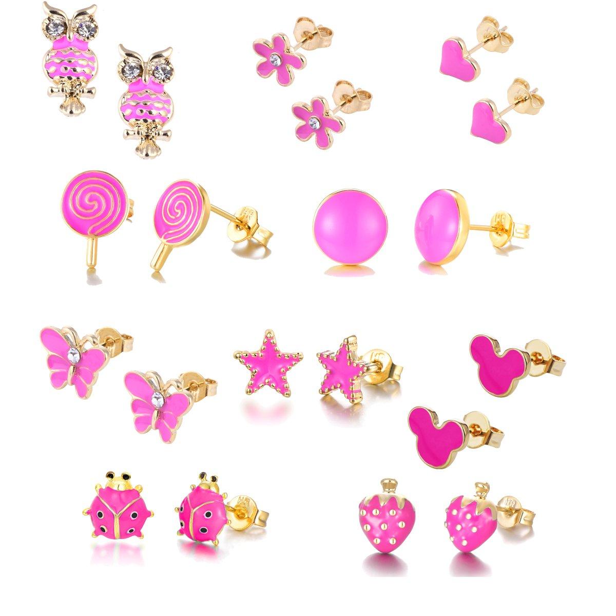 10 paia placcato in oro 18 carati piccoli orecchini per orecchini semplici scolpiti per ragazze (Carmine rosa-mix) luoyue HYZ-ED-18K 10P