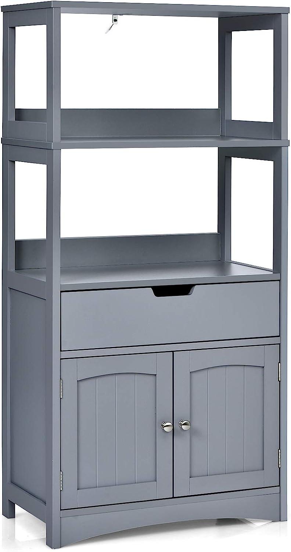Tangkula Bathroom Floor Cabinet with Drawer, 2 Open Shelves and Door Cupboard, Multipurpose Free Standing Storage Cabinet for Bathroom Kitchen Living Room, 24 x 13 x 48 inch (Grey)