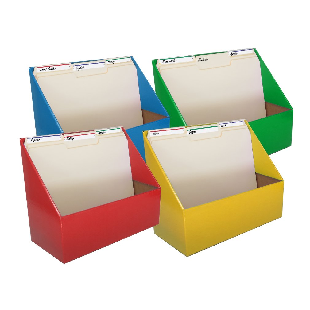 Evelots Home/Office Magazine/Folder Holder Organizers, 4-Pack, Assorted Colors