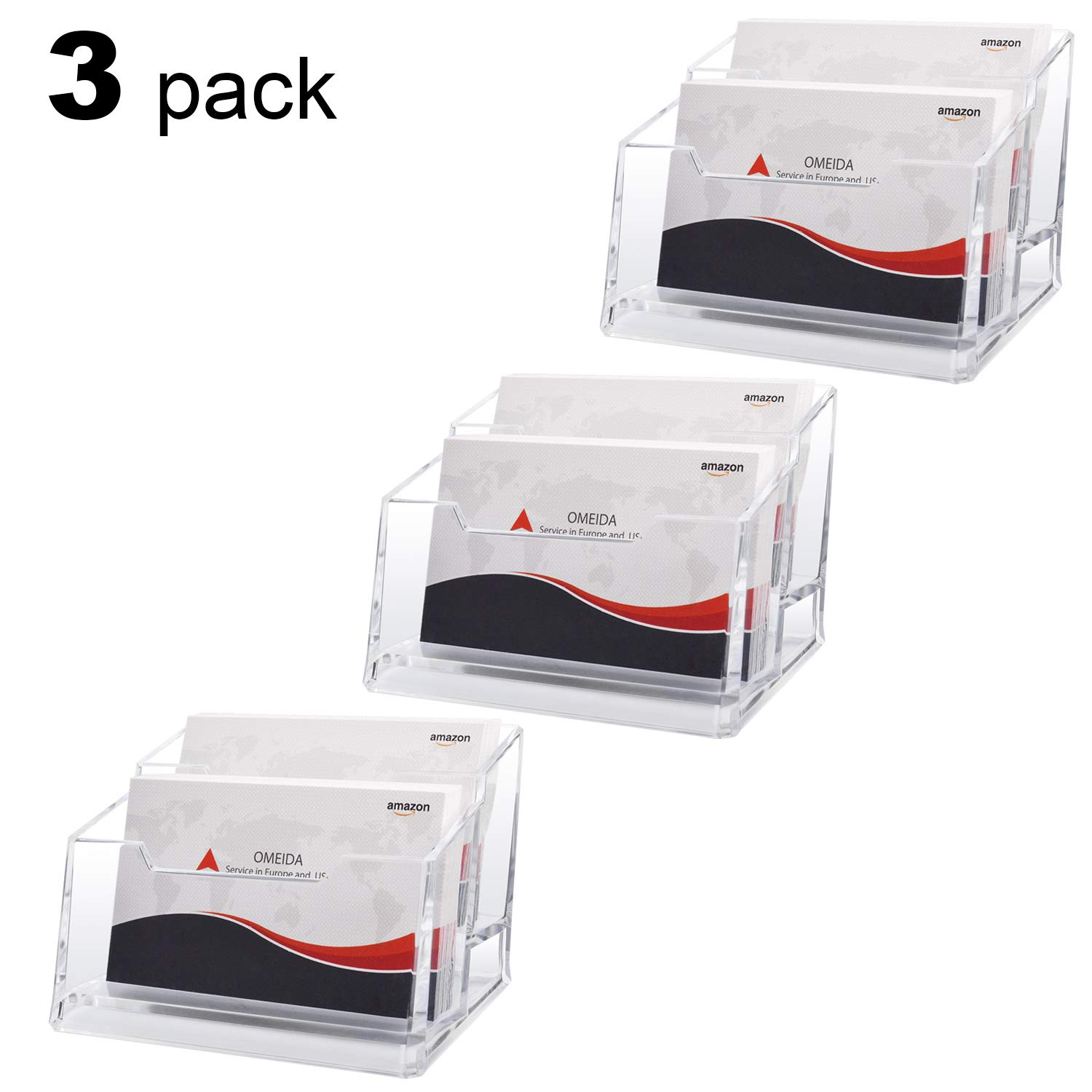 MaxGear Clear Business Card Stand Holder 2 Tier Acrylic Business Card Holder Display for Desk with 120 Card Capacity, 3 Pack