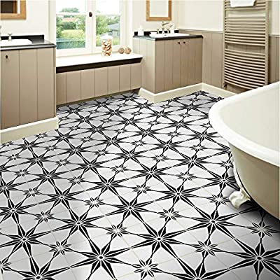 "Moroccan Mosaic & Tile House CTP78-01 Tafilalt Handmade Cement Tile, 8""x8"", White and Black"