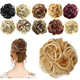 FESHFEN Donut Hair Chignons Synthetic Hair Pieces Scrunchy Scrunchies Hair Bun Updo Hairpiece Hair Ribbon Ponytail Hair Extensions Wavy Curly Messy Extensions - Bright Pumpin Gold & Bleach Blonde