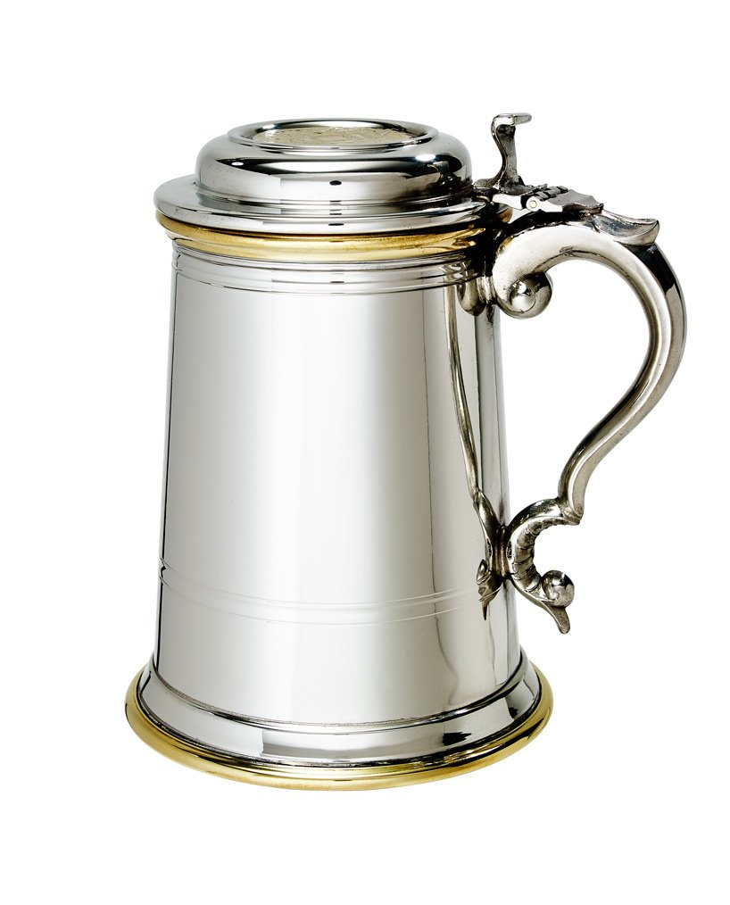 Wentworth Pewter - Heavy lidded Celtic Gold 1 Pint Pewter and Brass Tankard, Stein, Beer Mug
