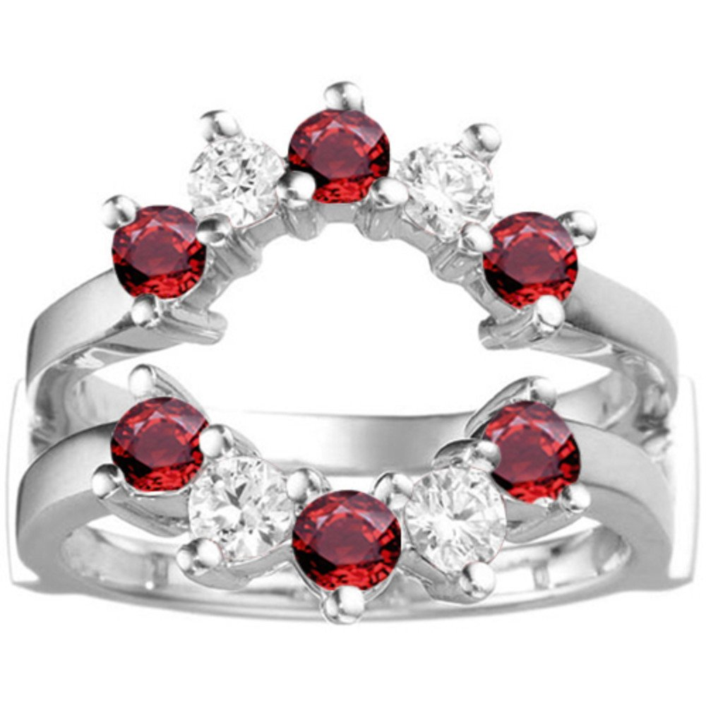 0.2 ct. Diamonds (G-H,I2-I3) and Ruby Genuine Ruby Sunburst Style Ring Guard with Gorgeous Round Stones in Sterling Silver (1/5 ct. twt.)