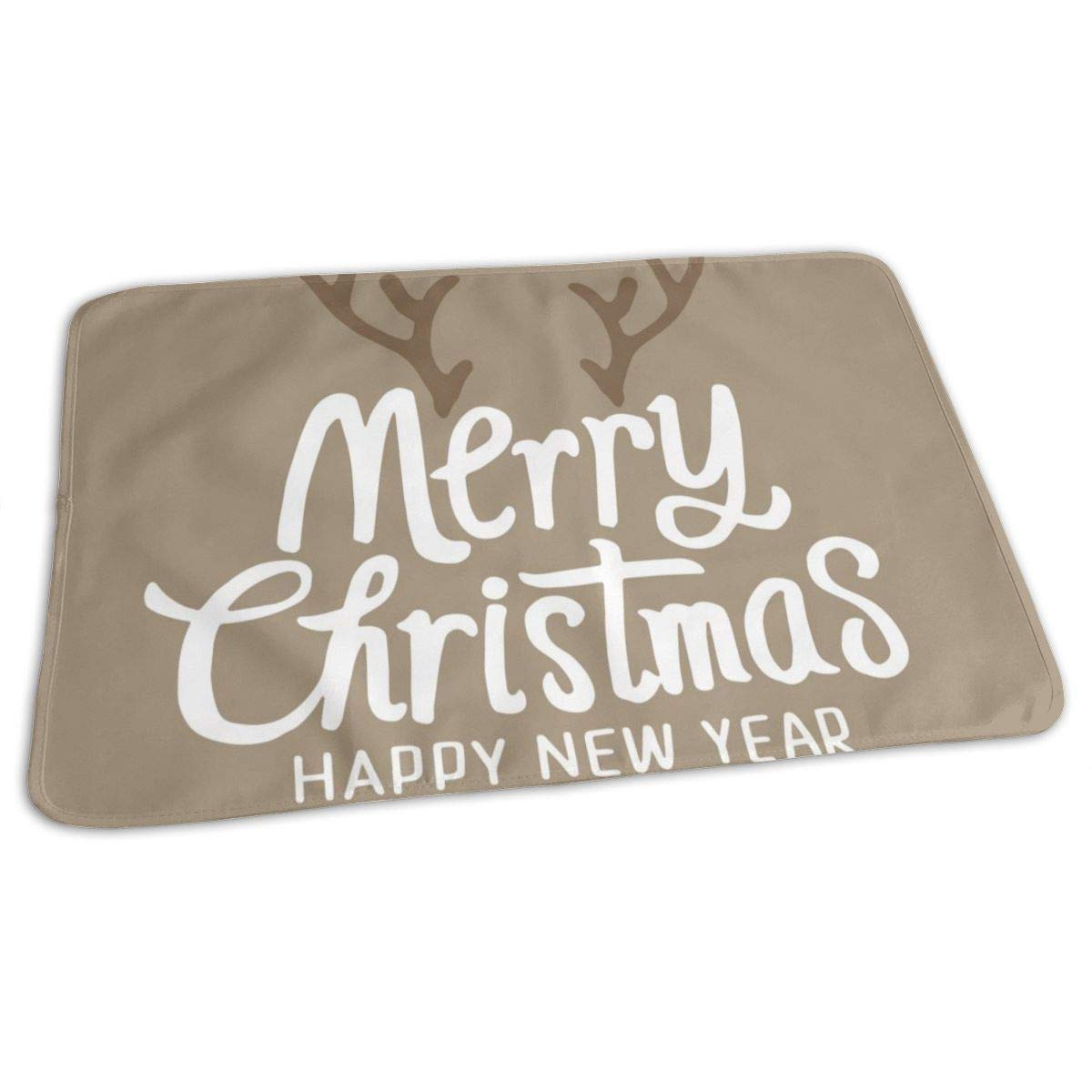 Osvbs Lovely Baby Reusable Waterproof Portable Merry Christmas Typographic Greeting Card Changing Pad Home Travel 27.5''x19.7'' by Osvbs