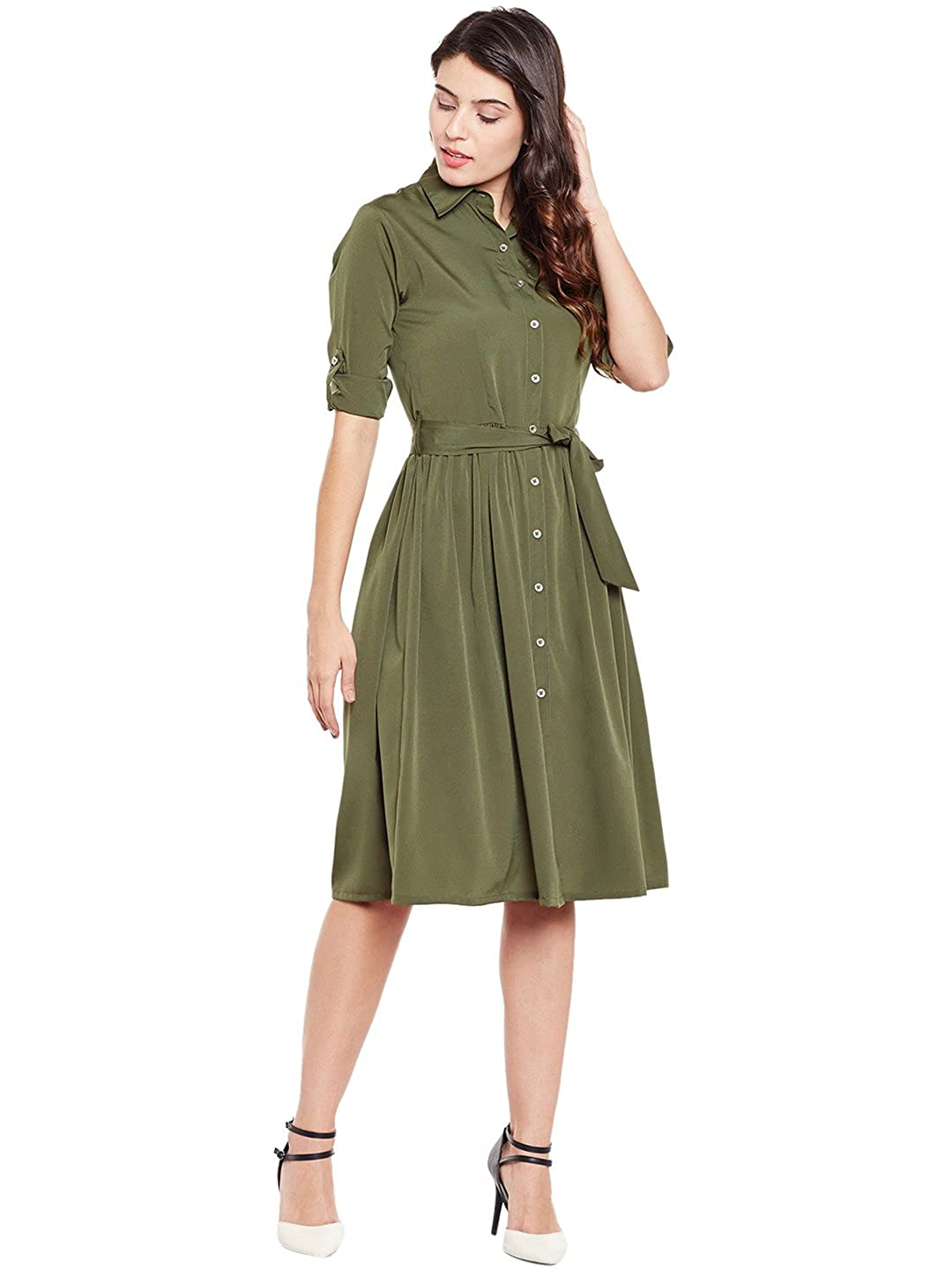e7f6b2ca296a Wisstler Women s Olive Green Poly Crepe Shirt Dress with Belt  Amazon.in   Clothing   Accessories