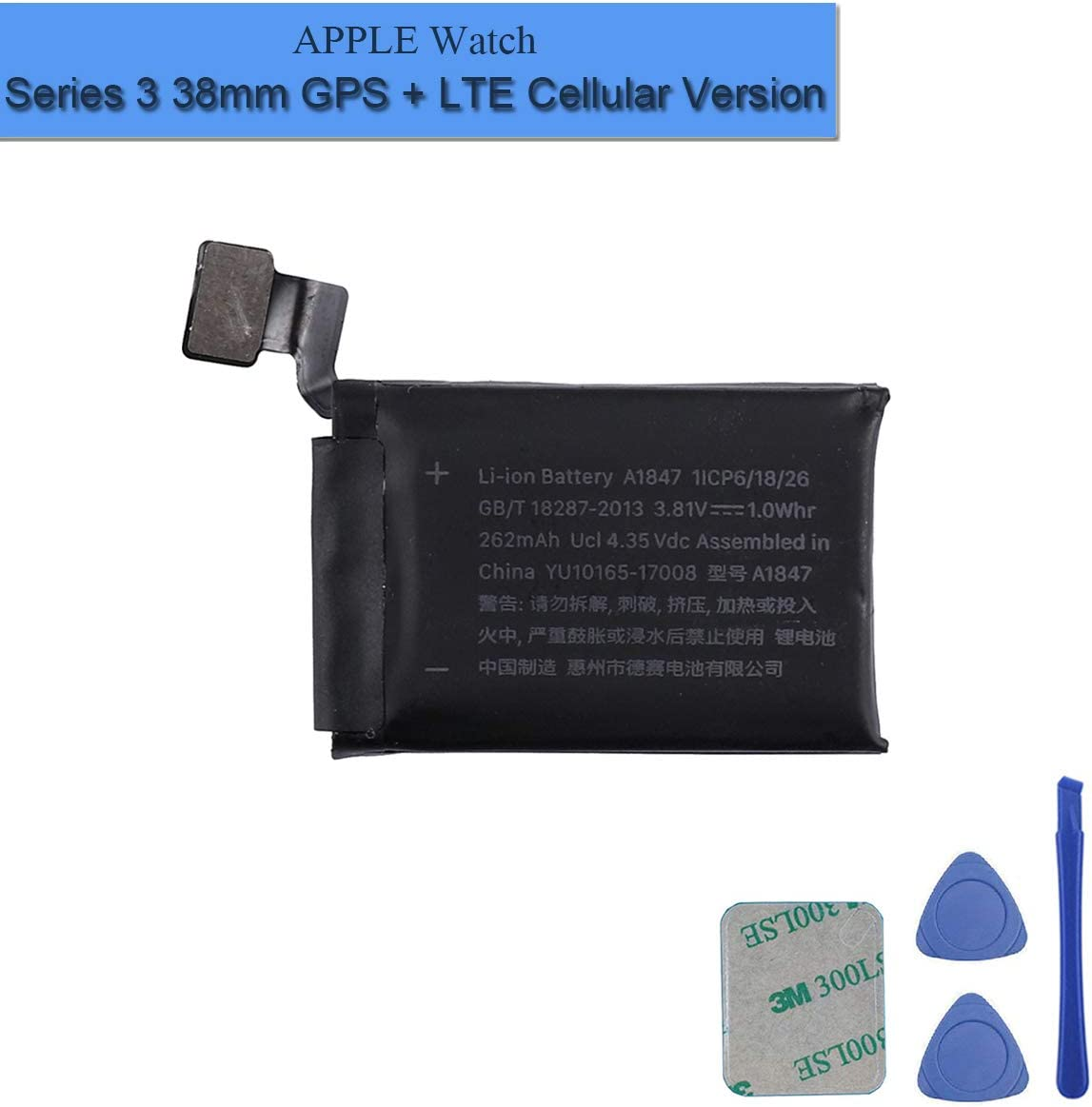 New Replacement Battery A1847 Compatible with Apple Watch Series 3 38mm GPS + LTE Version with Tools
