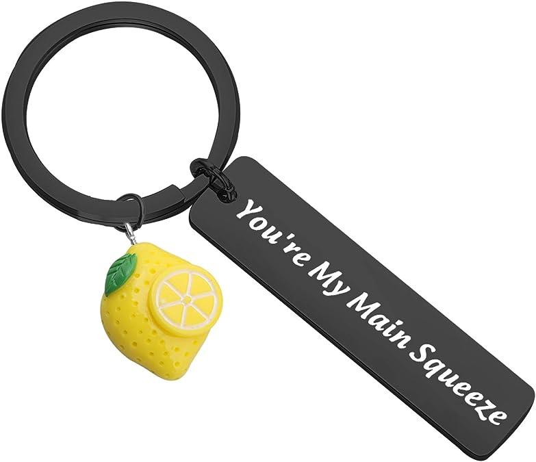 CHOORO Lemon Charm Jewelry Lemon Gift Squeeze The Day Keychain Lemon Jewelry Lemon Lovers Gift