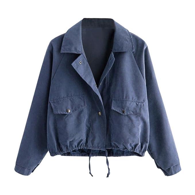 6ed3fb913452 MCYs Damen Mode Langarm Kurze Knopf Mantel Pocket Jacke Strickjacke Skin  Suits mit Kapuze Reißverschluss Taschen