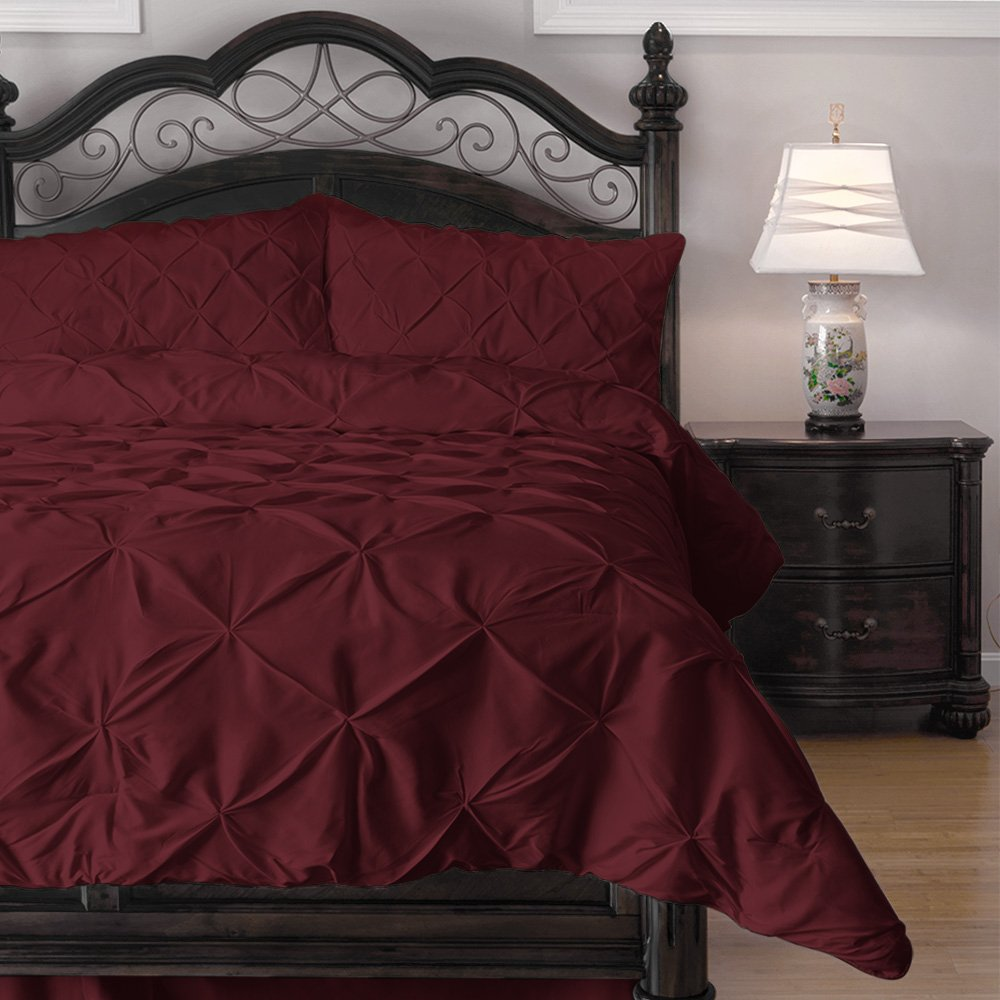 Red Hypoallergenic Comforter Set with Pillow Shams - 3 Piece - Decorative Pinch Pleat Pintuck