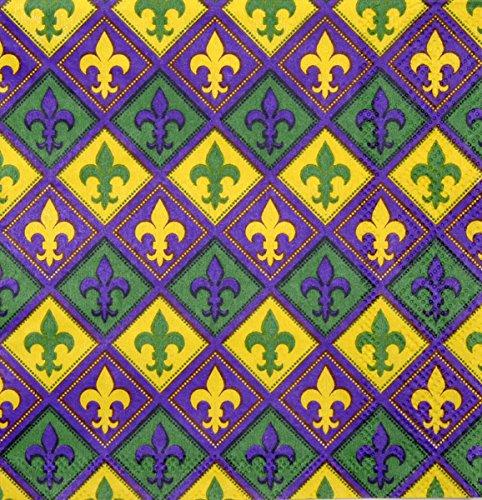 Mardi Gras Napkins (Luncheon, 16 Pack, Fleur di Lis, Purple, Yellow, Green) Mardi Gras Party Collection by (Mardi Gras Luncheon Napkins)