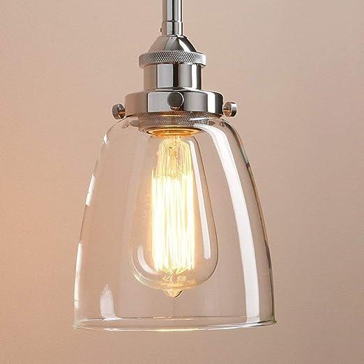 Glighone Lámpara Colgante 40W Lámpara Industrial Luz Colgante Lámpara de Techo Estilo Vintage Luz Retra Luz de Cristal Transparente Casquillo E27, ...