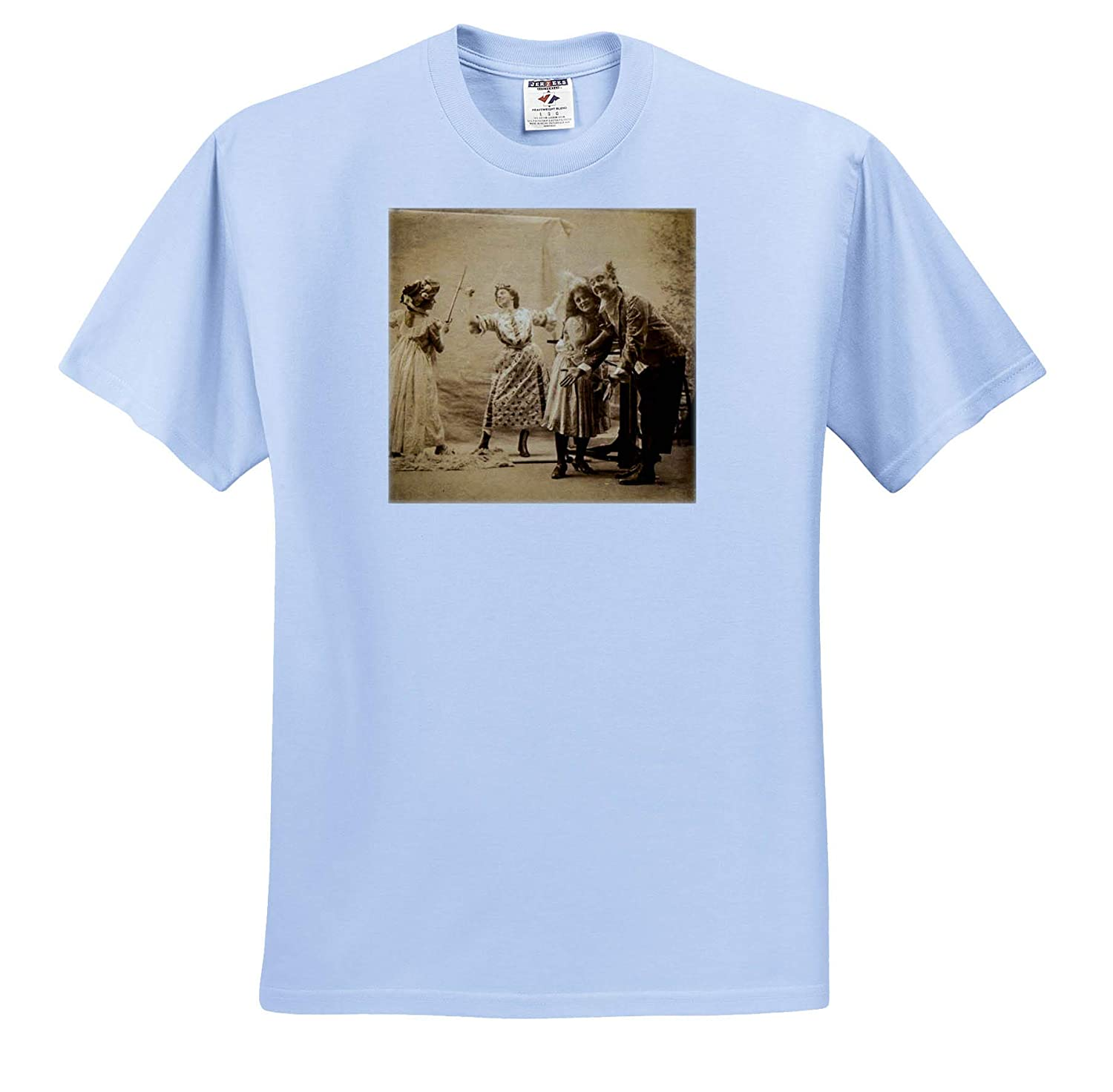 3dRose Scenes from The Past Stereoview Early 1900s Actresses Fencing on Stage with an Audience Vintage T-Shirts
