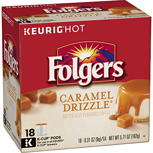 Folgers K Cups Gourmet Selections Flavored Ground Coffee K-Cup Pods, Caramel Drizzle, 72 Count