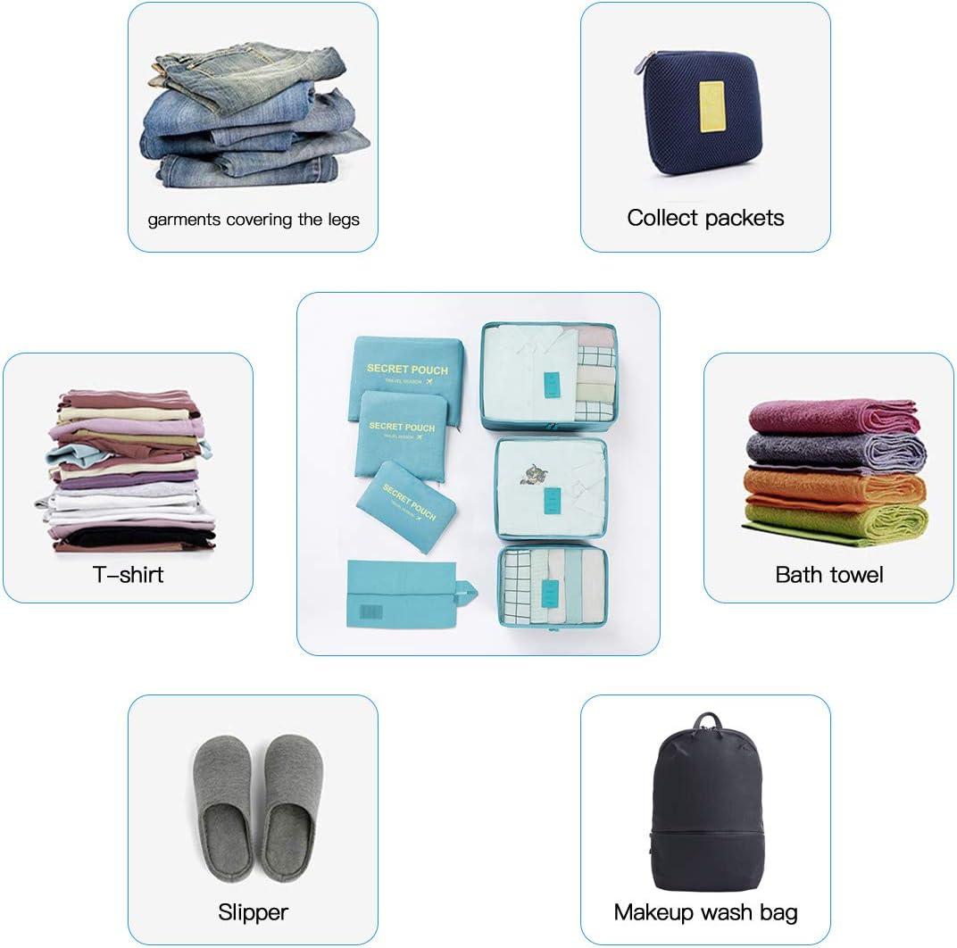 sous-v/êtements Produits de Toilette 02-Light Blue L Lookka Lot de 7 organiseurs de Voyage pour Bagages cosm/étiques valises Chaussures