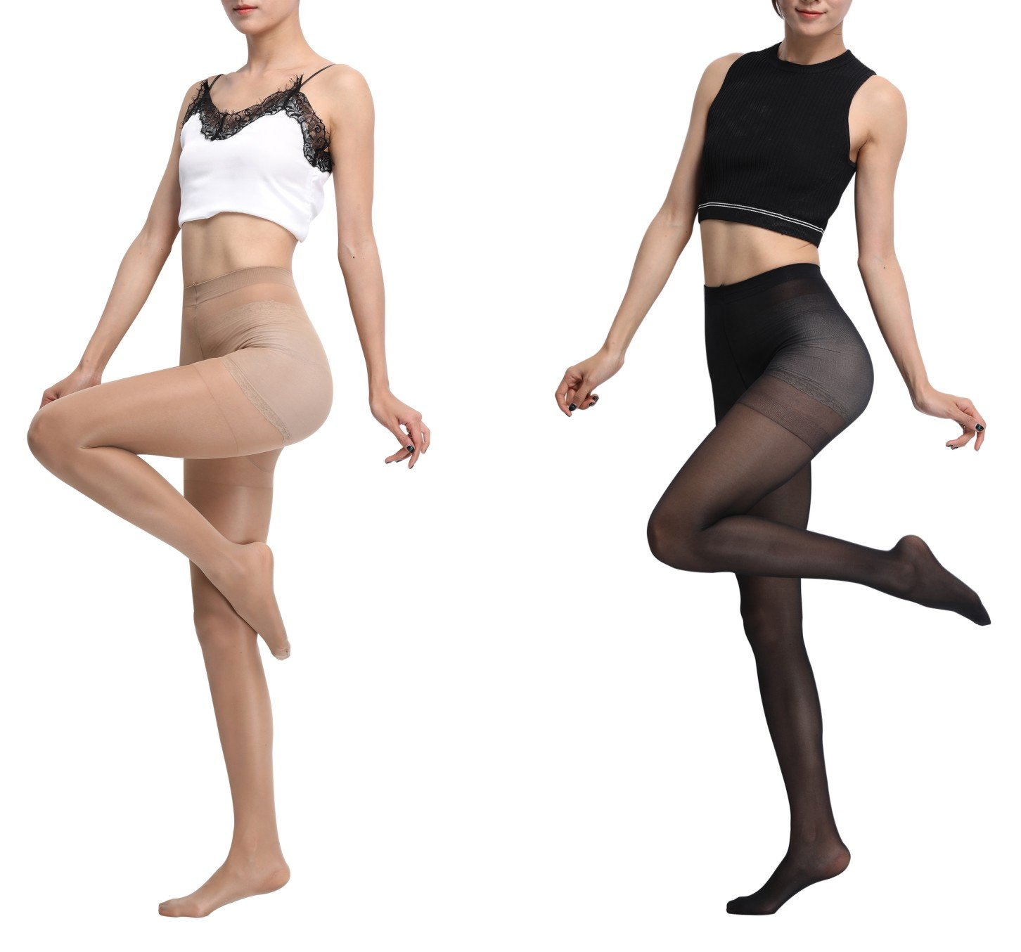 Aphro Women's Control Top Tights Semi-Opaque Black Pantyhose footed Leggings 2 pairs