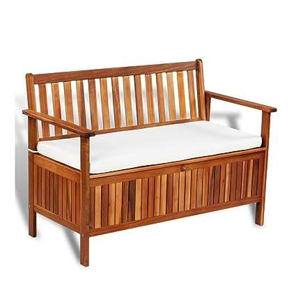Outdoor Wooden Patio Bench Storage Space Box Cushion Garden Seat Chair  Furniture