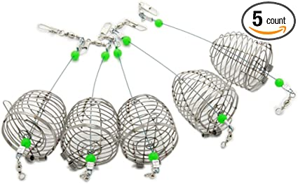 3 Size Lure Bait Cage Stainless Steel Wire Fishing Trap Basket Feeder Holder Fas