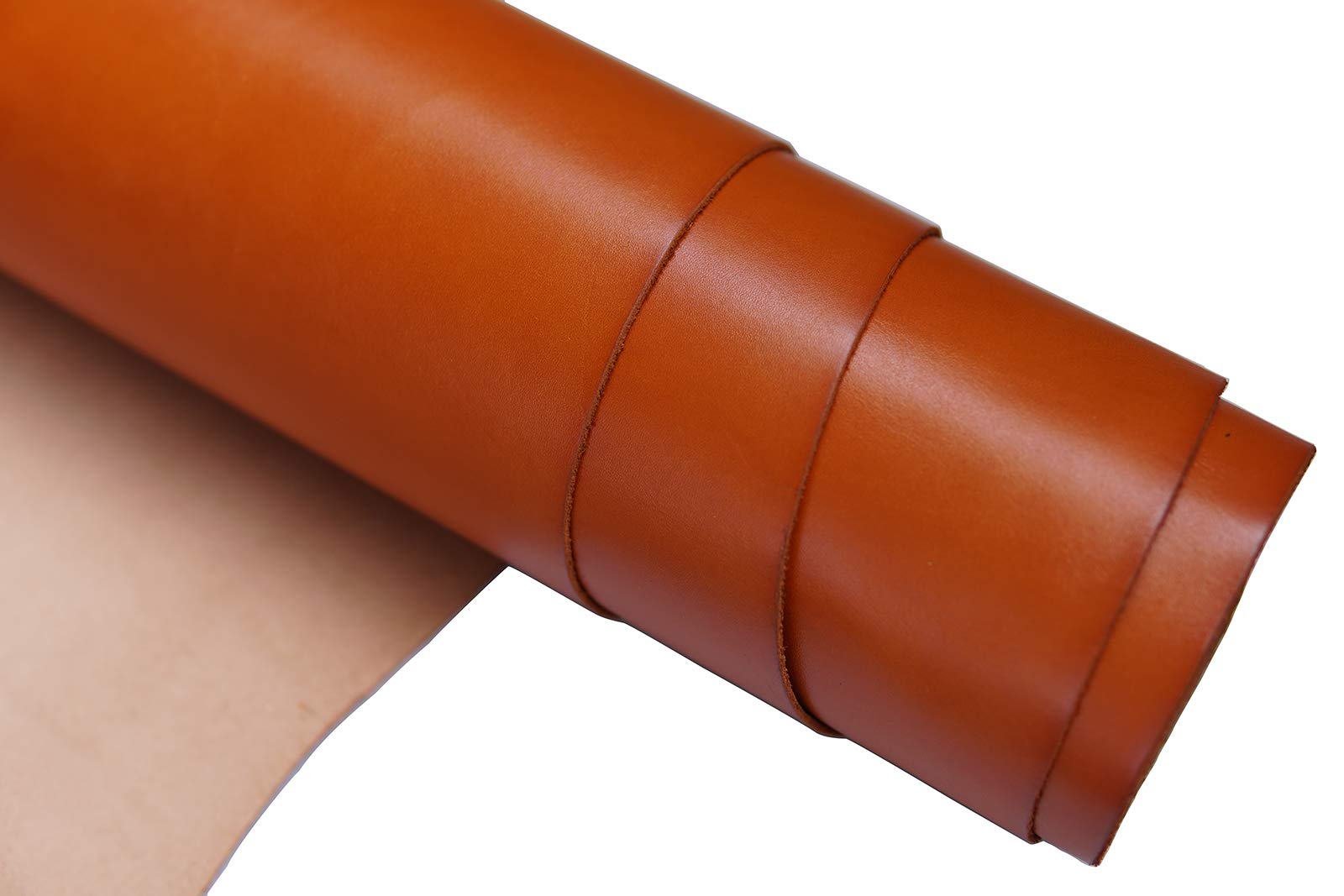 Firm Vegetable Tanned Full Grain Tooling Leather Thick Cowhide Handmade Stiff Leather Material for Craft/Tooling/Caving/Hobby Workshop (Orange-2.0mm, 24x24inches)