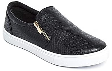 1be72b24a26b Womens Ladies Flat Slip On Faux Croc Plimsolls Pumps Shoes Skater Trainers  Size  Amazon.co.uk  Shoes   Bags