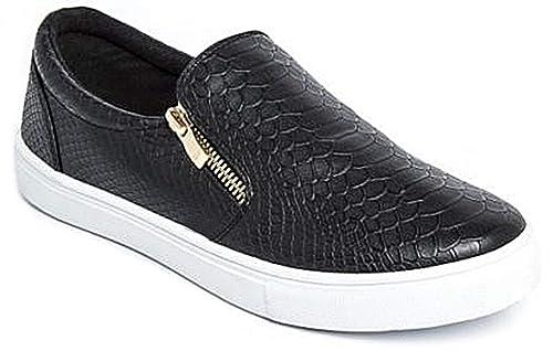 Zapatillas slip-on planas para mujer, imitación de piel: Amazon.es: Zapatos y complementos