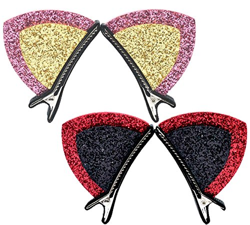 2 Pairs Sparkly Girls Hair Clips Cat Ear Barrettes No (Toddlers Chucky Halloween Costume)