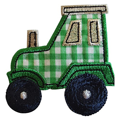 2 iron-on appliques set - Tractor 7X7Cm and Deer 5X10Cm embroidered application set by TrickyBoo Design Zurich Switzerland (Halloween Food Wording)