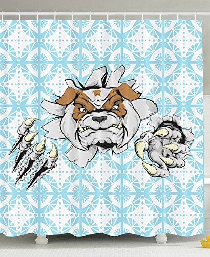 [Angry Bulldog Pet Tearing Animal Sports Lover Decor Man Cave Design Ideas Mascot Cartoon Character Man of the House Bathroom Dogs Playing Poker Fabric Shower Curtain Baby Blue Brown] (Blue Bull Mascot Costume)