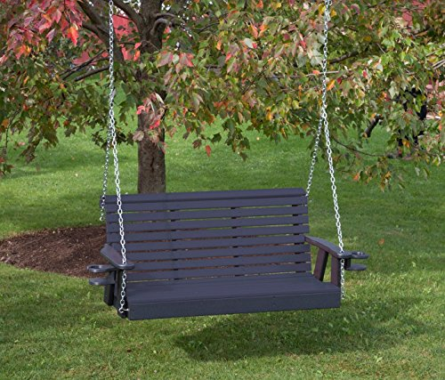 (5FT-BLACK-POLY LUMBER ROLL BACK Porch Swing with Cupholder arms Heavy Duty EVERLASTING PolyTuf HDPE - MADE IN USA - AMISH CRAFTED)