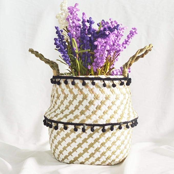 S//M//L HoneybeeLY Manuelle Geflochtene Stroh Faltbarer Ablagekorb Pflanze Blumentopf Organizer Home Decor Runde Camping Picknick Korb mit Griffen