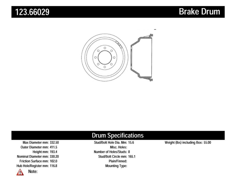Centric Parts 123.66029 Brake Drum