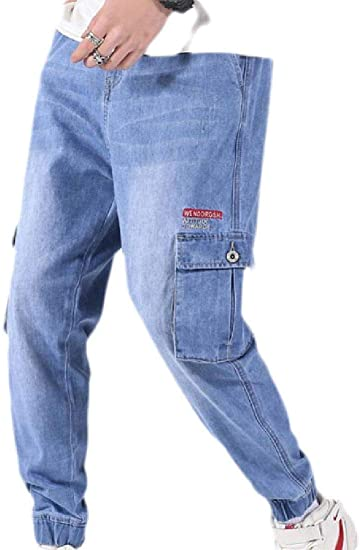 GUOCAI Men's Plus Size Loose Stretch Cargo Denim Pants Jeans