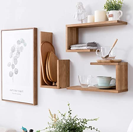 reputable site 778c1 655a3 INMAN HOME Wooden Wall Shelves 1PCS Oak U Shaped Floating Shelves Hanging  Bookshelf Display Decoration Wall mounted Picture Ledge Photos Awards ...