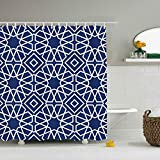 Mweet Shower Curtain Islamic Geometric Bath Curtain, Non-Toxic Bathroom Curtains