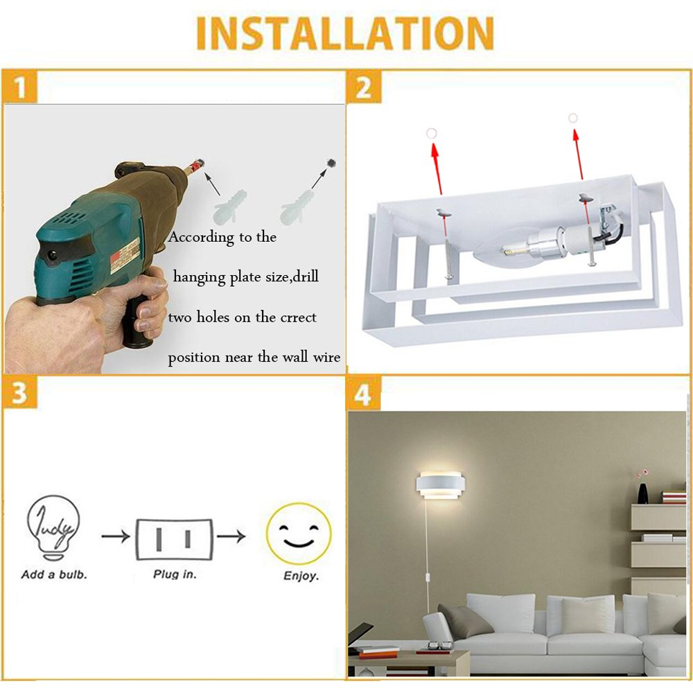 Kiven Modern Led Plug In Wall Light Sconce Up Down Lights Wiring A Fixture To Lamp E26 With On Off Switch Perfect For Living Room Hallway Bedroom Lamps