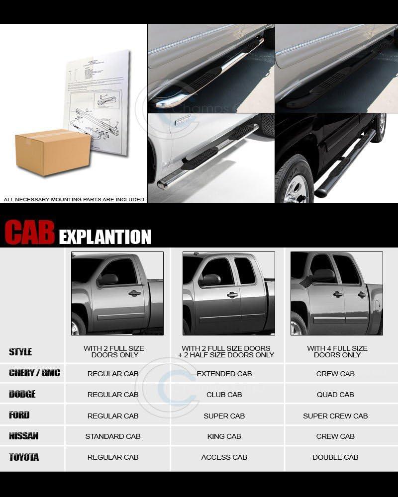 "FOR 99-16 F250-F550 SUPERDUTY CREW CAB 6/""BLACK OVAL SIDE ASSIST STEP BAR RAIL"