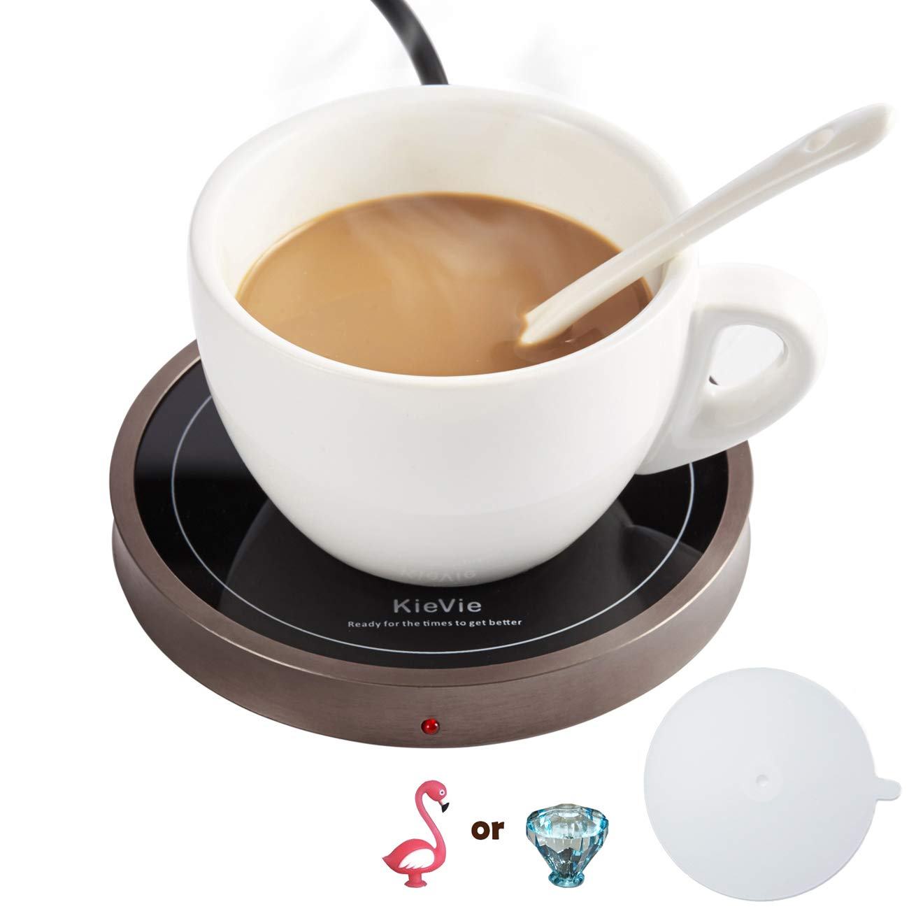Coffee Warmer for Warming Tea, Coffee,Cocoa, Mugs Warmer Have Pyroceram Warming Plate and Metal Shell, Constant Temperature Control, Waterproof, 18W Beverage Warmer, 1PC Silicone Cover Lid Free Gift Victoria World