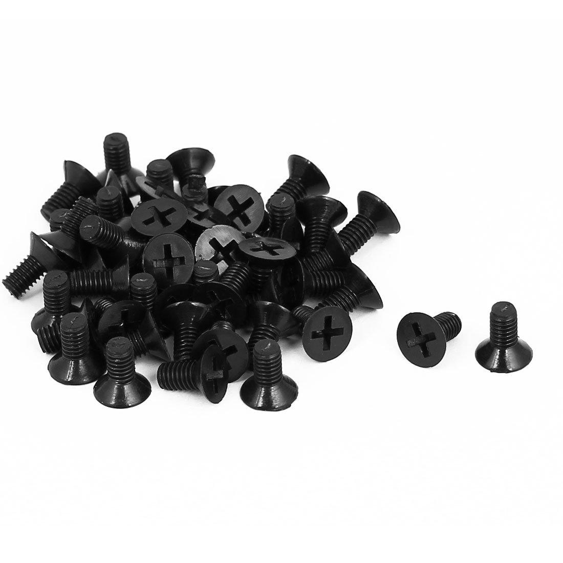 uxcell M4x8mm Phillips Nylon Countersunk Head Bolt Machine Screw Black 50Pcs