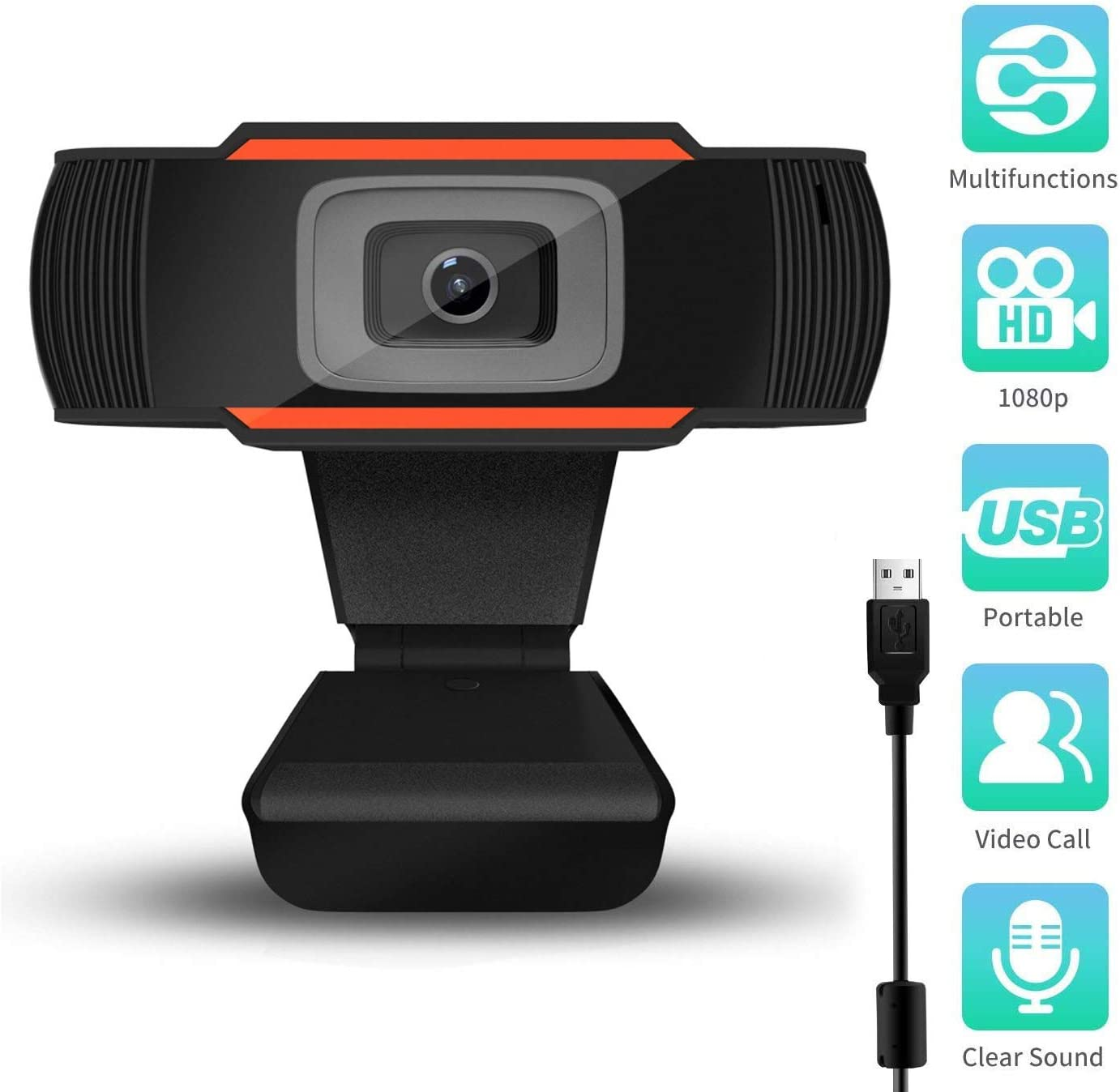 1080P Full HD Webcam with Microphone for Desktop PC Laptop Mac, Auto Focus Web Camera USB Computer Camera for Remote Conference, Games, Network Teaching Calling Gaming Streaming Video. (Black 1080)