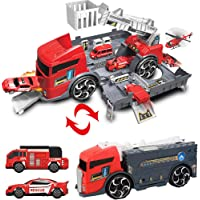 Transformers Toys Transformer fire truck to fire station play set with three rescue cars Pretend Play toys for 3 Year…