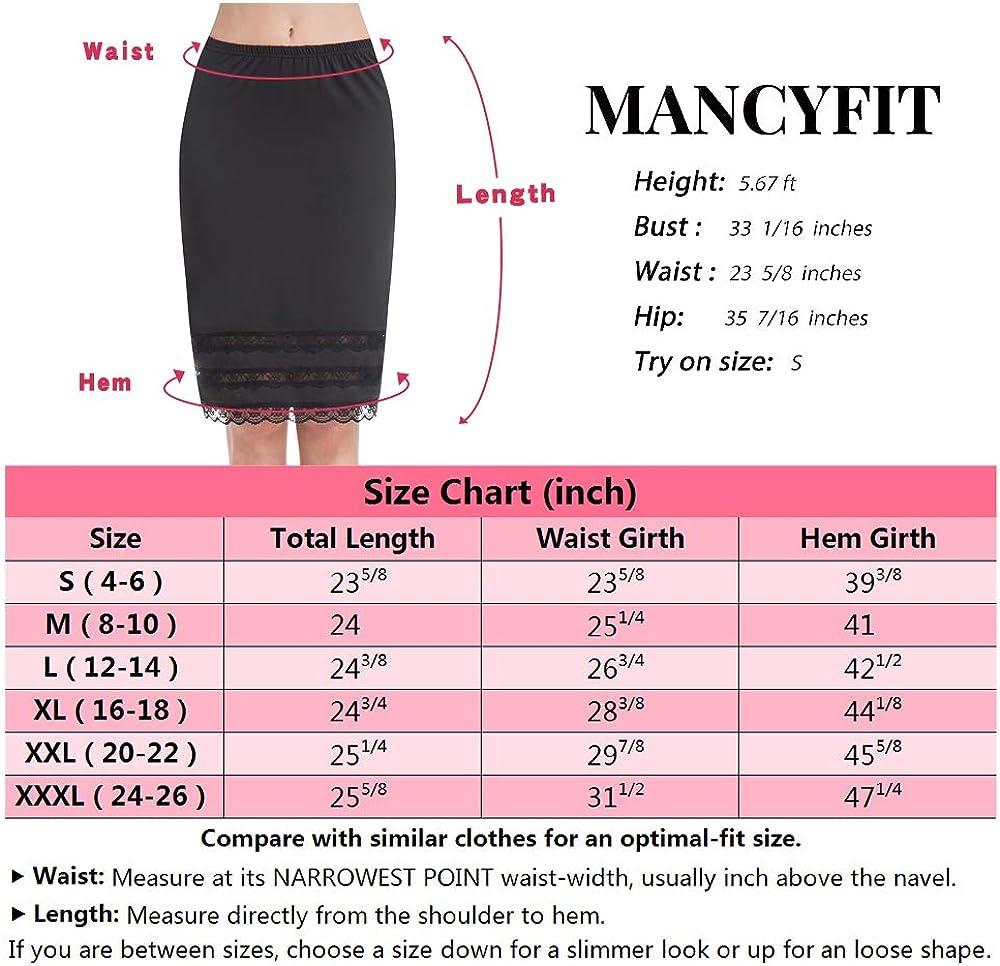 Half Slips for Women Underskirt Dress Extender Lace Trim Knee Length Midi Skirt 19-26 Length